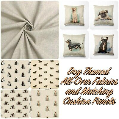 £10.95 • Buy Linen Look Fabric Dogs Cotton-Rich All Over Cushion Panels For Home Decor Craft
