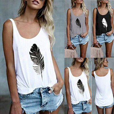£6.99 • Buy Womens Loose Summer Vest Tops Tank Camisole Ladies Plus Size Blouse T Shirt Tee