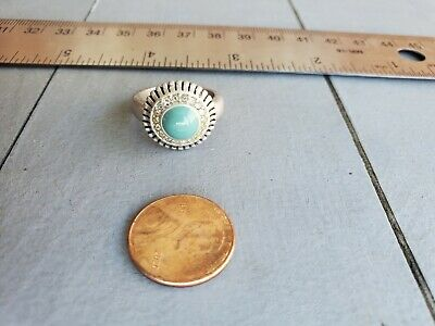 $ CDN31.13 • Buy Lia Sophia Ring Size 7 Turquoise Clear Crystals Stones Matte Stainless Steel