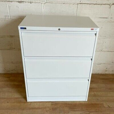 £195 • Buy SILVERLINE Lateral 3dwr Filing Cabinet 80cm White Cupboard Storage Office Bisley
