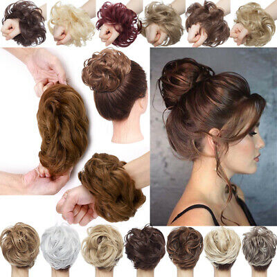 £7.95 • Buy Curly Messy Bun Hair Piece Scrunchie Updo Natural Hair Extensions As Human Brown