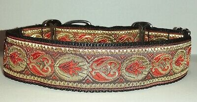£12.50 • Buy Martingale Dog Collar Red Gold Greyhound Lurcher Saluki Whippet Podenco