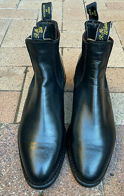 AU290 • Buy RM Williams Black Yearling Leather Cuban Heel Boots 9.5G Mens