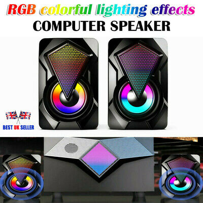£9.91 • Buy Surround Sound System LED PC Speakers Gaming Bass USB Wired Desktop Computer UK