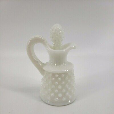 $9.74 • Buy Vintage Hobnail Milk Glass Small Decanter With Stopper 4 1/2  Tall White