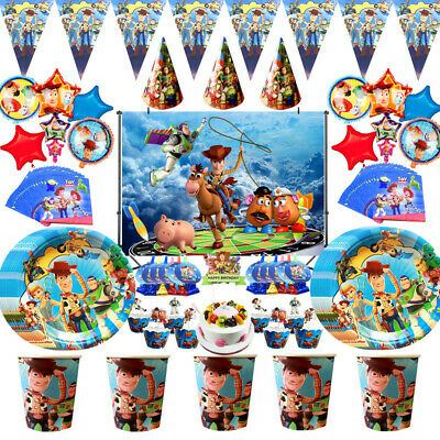 £2.99 • Buy Toy Birthday Decorations Story Party Supplies Plates Cups Banner Cover Balloons