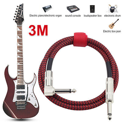 AU14.95 • Buy 3M Guitar Lead 1 Right Angle Jack Tweed Braided Instrument Cable Noiseless
