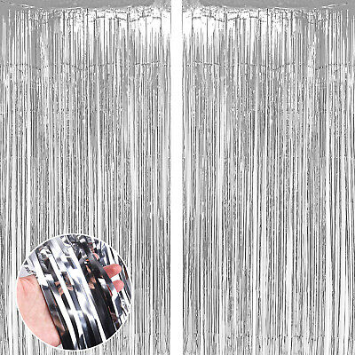 £2.99 • Buy 3M Sliver Foil Fringe Tinsel Shimmer Curtain Wall Door Birthday Party DECORATION