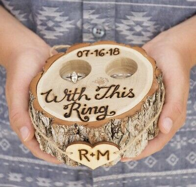 Rustic Vintage Wooden Ring Bearer Engagement Ring Holder Jewelry Box • 14.99£