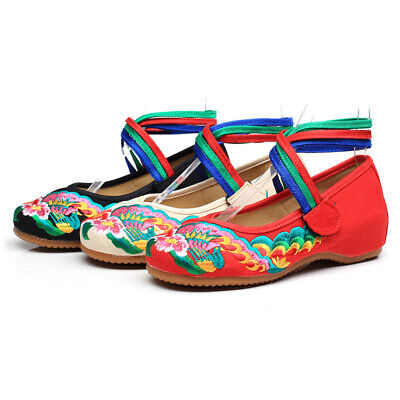 £9.99 • Buy Women Ankle Cross Strap Chinese Style Hibiscus Embroidery Wedge Comfy Shoes Size