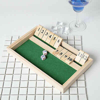 £10.41 • Buy Shut The Box Wooden Board Dice Game With 12 Numbers  Tabletop Version And Pub