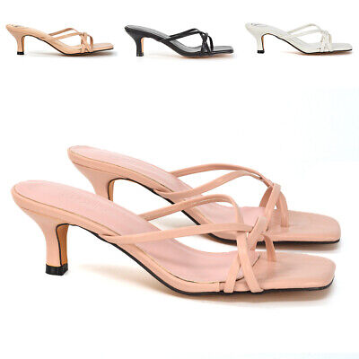 £19.99 • Buy New Womens Strappy Kitten Heel Sandals Ladies Square Toe Slip On Mule Shoes Size