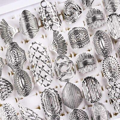 $ CDN12.08 • Buy Wholesale 20pcs/Lots Mix Style Vintage Carved Flower Silver Plated Jewelry Rings