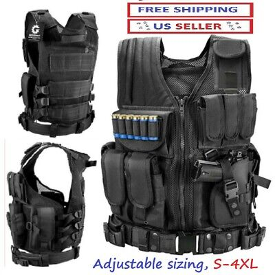 $45.23 • Buy Adjustable S-4XL Tactical Military SWAT Police Airsoft Molle Combat Assault Vest
