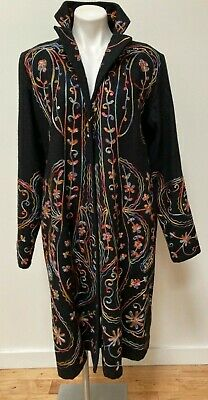 £28.63 • Buy Chadwick's Of Boston Black Wool Long Coat Colorful Embroidery & Sequins 16T Tall