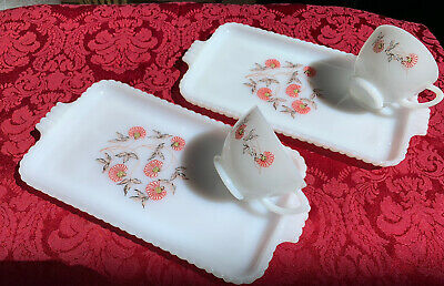 $10 • Buy Fire King Fleurette Milk Glass Snack Tray Set Of 2 Plates With 2 Cups Vintage