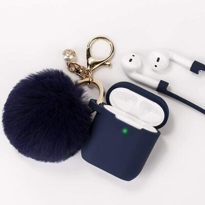 AU7.99 • Buy Apple Airpods 1&2 Silicone Slim Gel Protective Cover Case W/ Furball Keychain