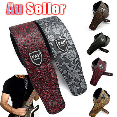 AU14.55 • Buy Guitar Strap PU Leather Basses Adjustable Acoustic Electric Classic Luxury Soft