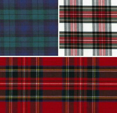 £5.99 • Buy 100% Cotton Tartan Check Fabric- Craft, Bunting Quilting, Dressmaking. 3 Colours