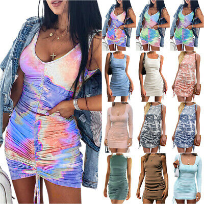 £13.58 • Buy Womens Ruched Side Drawstring Ribbed Bodycon Dress Party Clubwear Mini Sundress