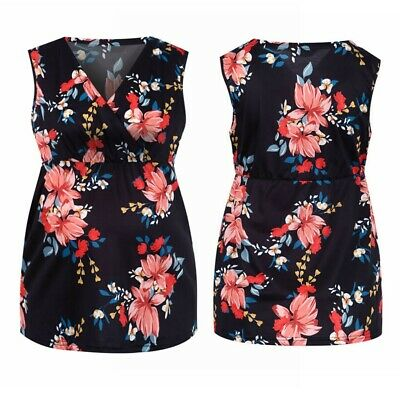 £12.11 • Buy Pregnant Woman Black Top Maternity Summer Vest Sleeveless Floral Blouse Clothes