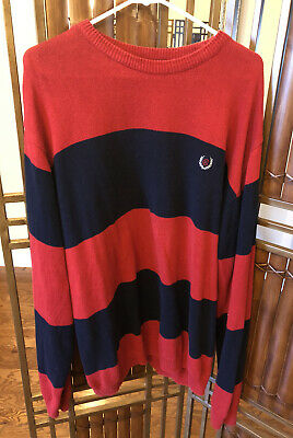 £14.62 • Buy Vintage Ralph Lauren Chaps CRL Polo Freddy Krueger Style Sweater Large Red/Navy