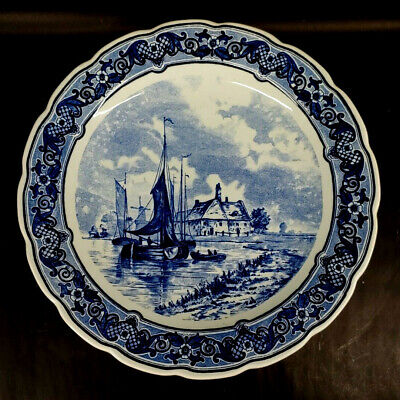 $100 • Buy Holland Delfts Royal Sphinx Maastricht Coastal Scene Charger Plate 1930s    S-1B