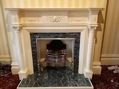 £200 • Buy Victorian Style White And Black Marble Effect Fire Surround With White Pillars