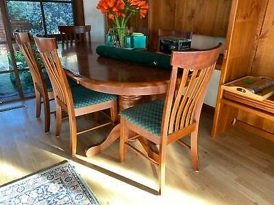 AU720 • Buy Solid Timber Extension Dining Table & 8 Chairs -  AS NEW