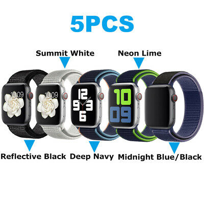 $ CDN15.03 • Buy 5/Pack IWatch Nylon Band Sport Strap For Apple Watch 6 5 4-1 SE 38/40/42/44mm