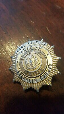 $498.88 • Buy Vintage Rare Earl Hawkens Sheriff Franklin County State Of Maine Coat Badge