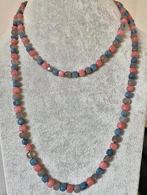 $ CDN69.12 • Buy Lola Rose *amazing* Extra Long Peacock Blue Grey Agate & Coral 57  Necklace Qvc