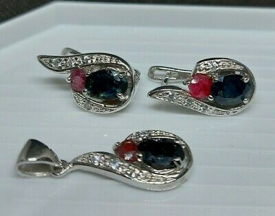 AU55 • Buy Natural Ruby And Sapphire 925 Silver Earrings And Pendant