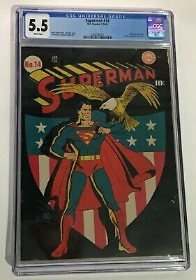 AU11000 • Buy Superman 14 DC Comics 1942 CGC Graded 5.5 FN Minus Wh Pages  Tight/square Spine