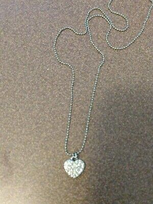 $ CDN5.65 • Buy Lia Sophia Silver With Clear Crystals Heart Shaped Necklace