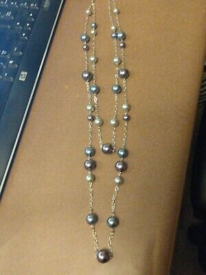 $ CDN10.03 • Buy Lia Sophia Silver Multistrand Necklace With Blue, Purple And Gray Beads