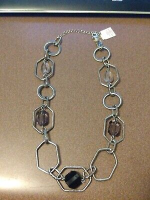 $ CDN6.90 • Buy Lia Sophia Silver Necklace With Black, Gray And Clear Beads
