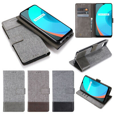 AU9.99 • Buy For OPPO A72 A53 A92 A83 Reno 4 Pro F7 F5 Canvas Leather Flip Stand Wallet Case