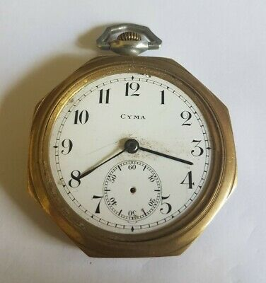 £59.99 • Buy Beautiful Vintage CYMA Hectagon Shaped Mechanical Pocket Watch For Repairs