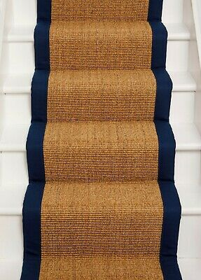 £2 • Buy ***Sample Piece*** Sisal Boucle Runner With Navy Blue Tape