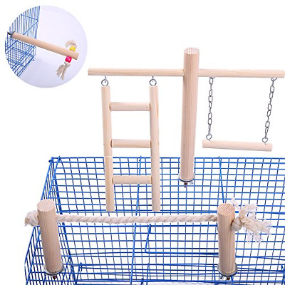 QBLEEV Parakeet Perches Outside Cage, Bird Swing Conure Toys Table Cage Top Play • 15.25£