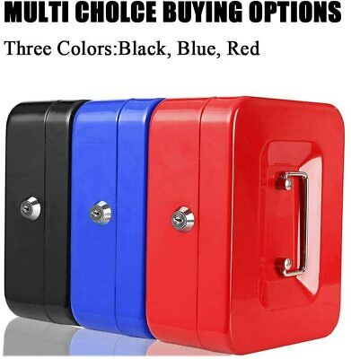 Metal Cash Box Money Steel Tin Security Safe Petty Key Lockable 5 Sizes 3 Colour • 7.29£