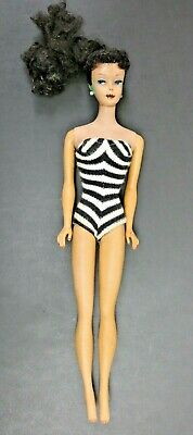 $ CDN156.64 • Buy 1961 Barbie Brunette Ponytail Doll 850 # 5 Earrings Zebra Swimsuit Dark Lips