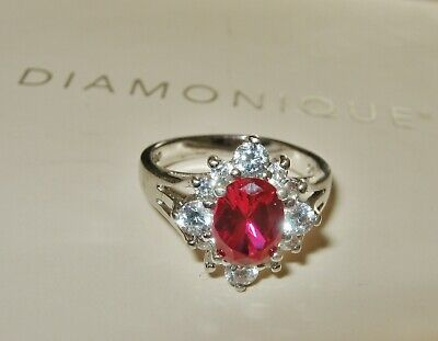 $ CDN25.63 • Buy **stunning** Ruby Red Clear Diamonique Ring Sterling Silver Size K Usa 5.5 Qvc