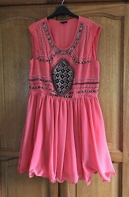 River Island Coral Dress Size 16 Sparkly Jewelled • 10£