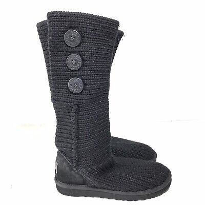 £21.23 • Buy Ugg Australia Classic Cardy Womens 7 Boots Black Knit 5819 Buttons