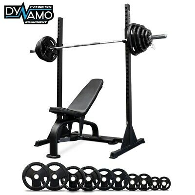 AU1299 • Buy Squat Rack + Adjustable Bench + 125kg Olympic Barbell 7ft Weight Plate Set