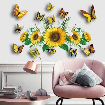 AU5.17 • Buy Creative 3D Butterfly Sunflower DIY Art Wall Sticker Home Decal 2021 New