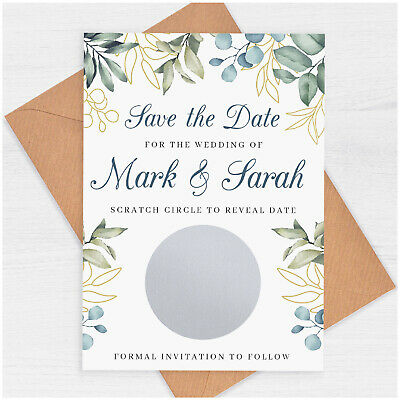 £0.99 • Buy Eucalyptus Save The Date Cards PERSONALISED Greenery Save The Date Scratch Card