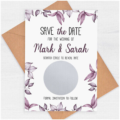 £39.80 • Buy PERSONALISED Purple Save The Date Cards Wedding Save The Date Scratch Card